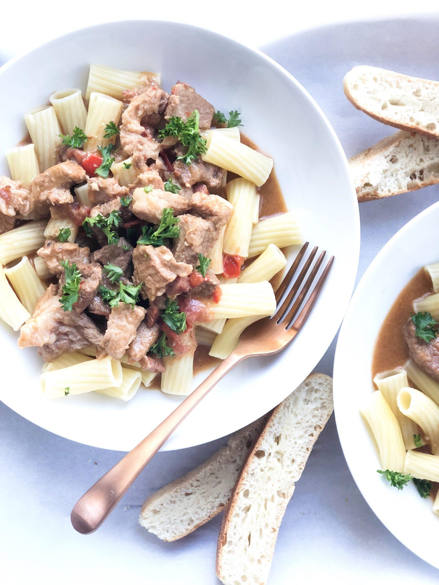 Hungarian Stew with Noodles-Pörkölt